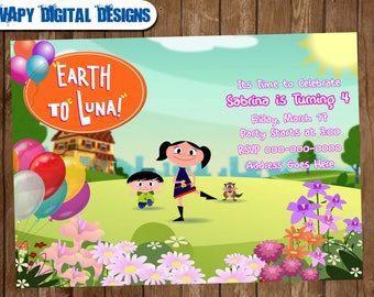 Earth to Luna Digital  Party invitation customize invite birthday thank you card