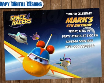 Space Racers Digital  Party invitation customize invite birthday thank you card