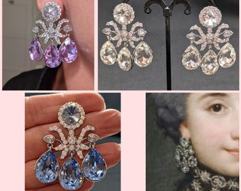 18th Century Girandole Earrings - Classic Girandole Customizable Colors Earrings - Georgian Earrings - Custom Color Earrings