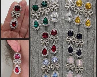 18th Century Earrings - Rococo Bow Earrings - Rhinestone Crystal Earrings - Georgian Paste Earrings - Marie Antoinette Jewelry