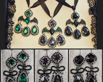 18th Century Gothic Necklace & Earrings  - 18th Century Girandole Bat Jewelry - Georgian Gothic Jewelry - Gothic Earrings and Necklace