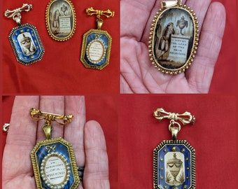 """Reproduction Enamel Mourning Brooch - 18th Century Jewelry -  Georgian Mourning - """"In Memory of a Friend"""""""