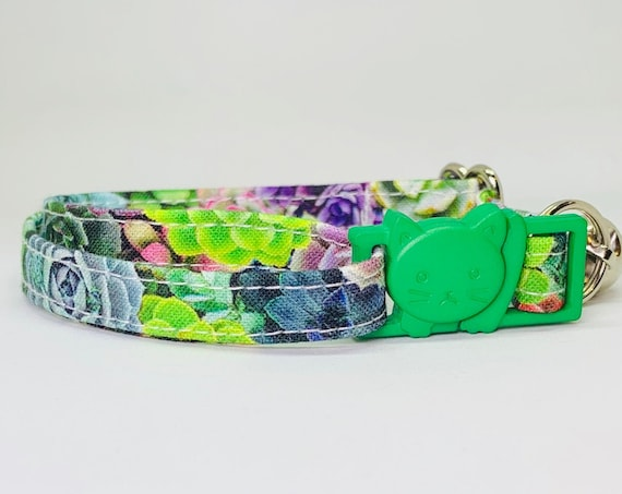 Breakaway Cat Collar / Succulents Cat Collar / Flower Cat Collar