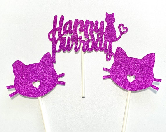 Happy Purrday Cat Cake Toppers