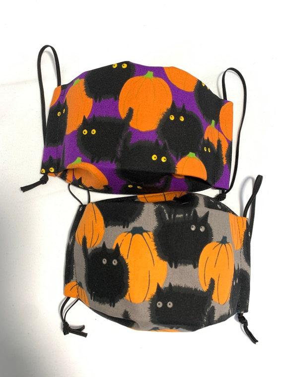 Pumpkin Black Cats Face Mask