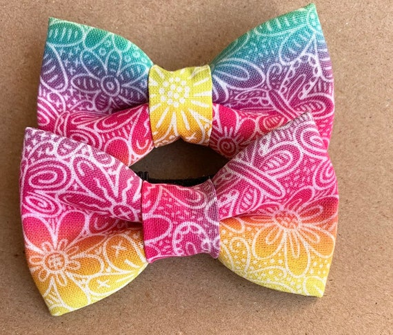 Rainbow Flowers Pet Bow Tie