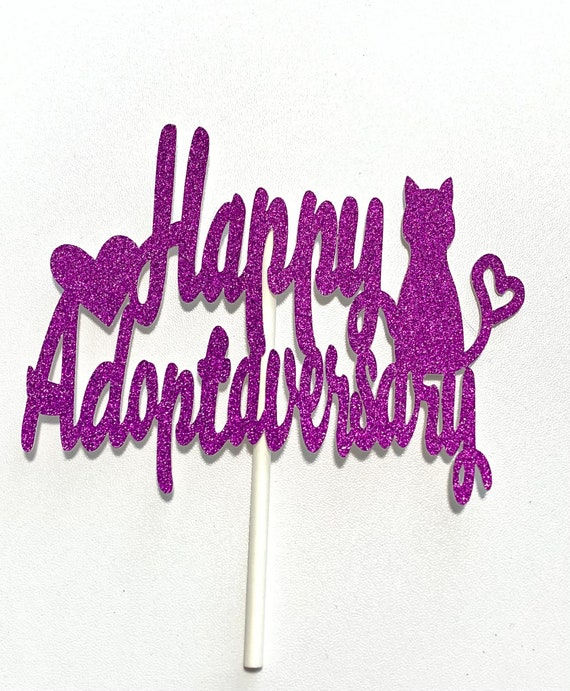 Happy Adoptaversary Cat Cake Toppers
