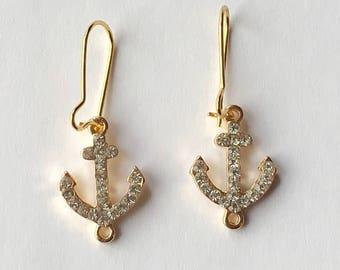 Little Rhinestone Anchor Earrings