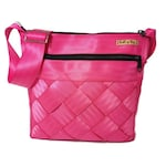 Upcycled seatbelt crossbody purse, reclaimed bag in fuschia pink,  ladies handbag, Buckle up Bags