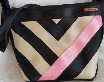 Seatbelt purse seatbelt bag seatbelt shoulder bag. Recycled ladies handbag in seatbelt webbing. Pink and black purse