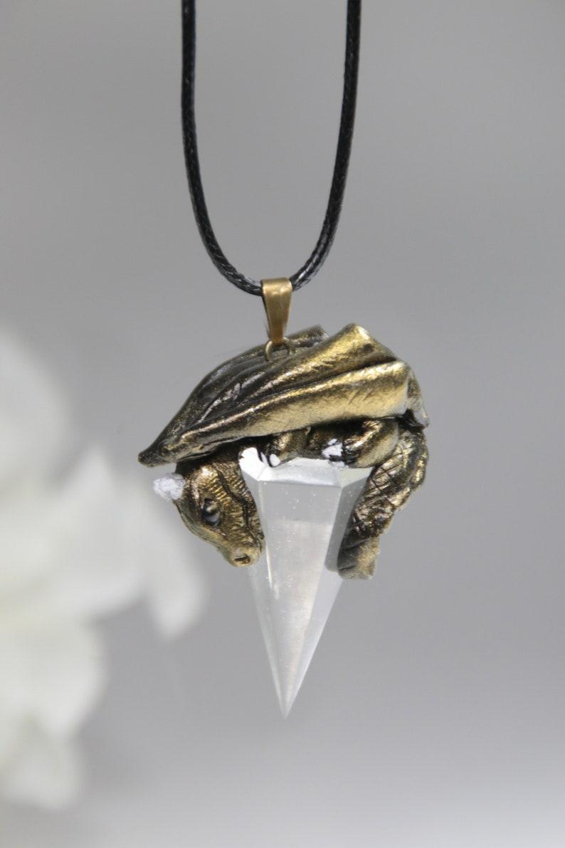 Golden dragon crystal necklace gold baby dragon pendant faux quartz dragon figurine