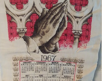 Vintage Linen 1967 Linen Tea Towel Calendar