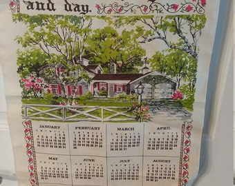 Vintage 1976 Linen Tea Towel Calendar