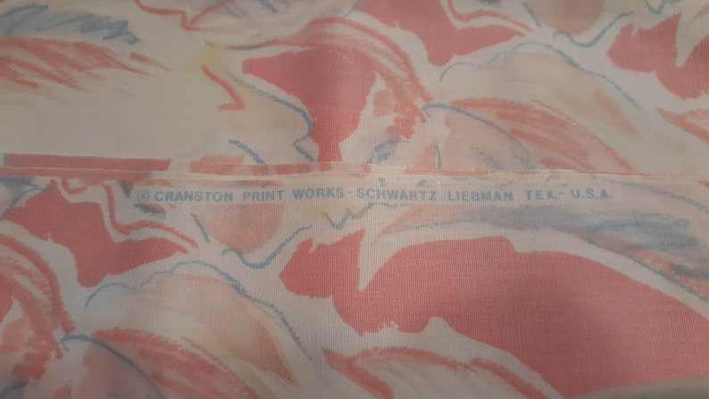 Vintage Cranston Print Works Pink  Blue Water Color Flower Cotton Fabric