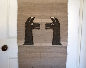 Vintage 1960s Handmade Peruvian Alpaca Wool brown runner rug with Llama design