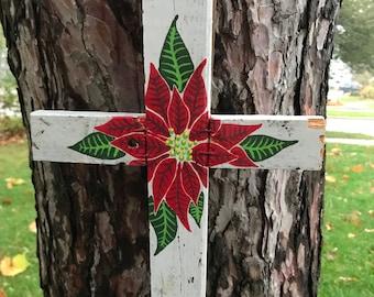 Red Poinsettia Reclaimed Wood Cross