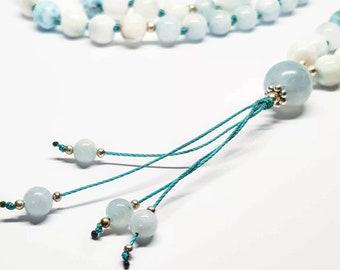 AAA Aquamarine & Larimar Mala ~ Dominican Larimar, Aquamarine, 108 Beads, Handmade Jewelry, Japa Mala, Yoga Jewelry, Gemstone Necklace, Mala