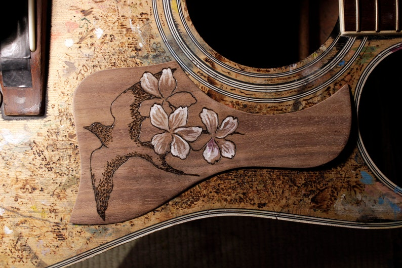 pickguard, pickguard acoustic, guitar custom, wooden pickguard - swallow