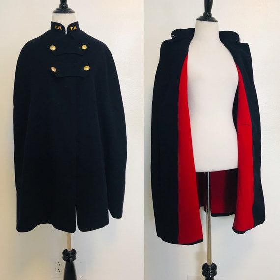Vintage Cape, Navy Blue Wool Cape Red Lining Vinta