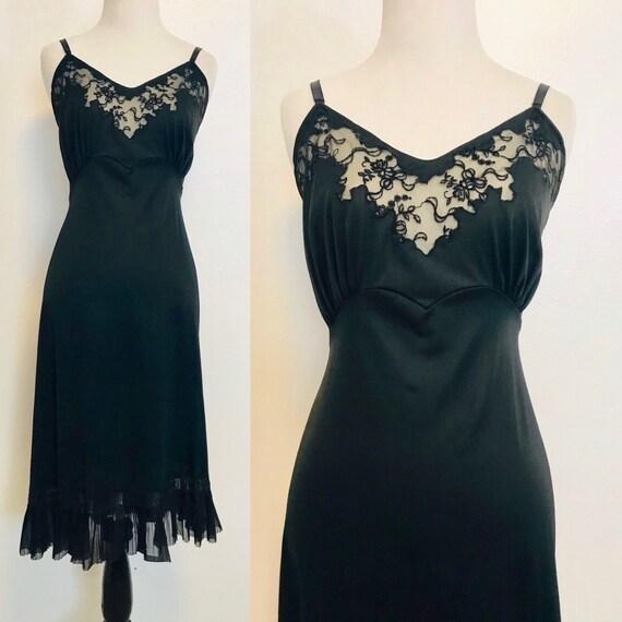 Vintage Slip, Black Floral Dress Slip, 1950s Linge