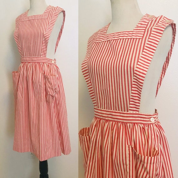 Vintage Pinafore Dress, Candy Striper Dress, Vinta