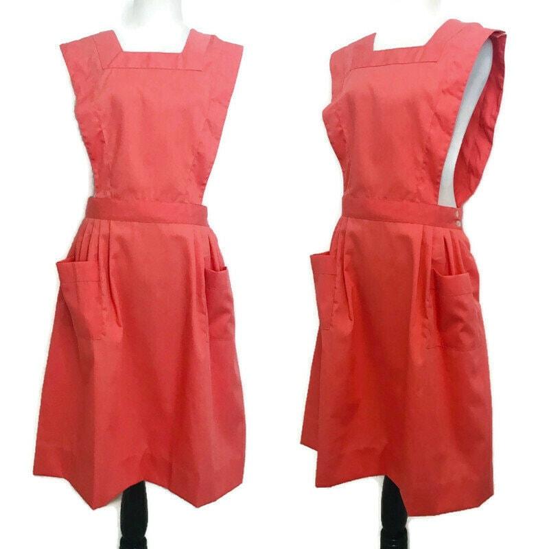 Vintage Aprons, Retro Aprons, Old Fashioned Aprons & Patterns Vintage Nurses Pinafore Coral Nursing Apron Dress Size Large, 60S 70S Nurse Dress, Pinafore, Uniform $52.50 AT vintagedancer.com