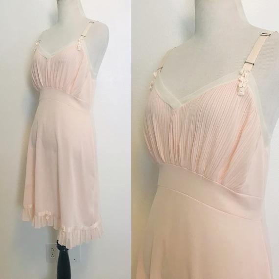 Vintage Dress Slip, 1960s Lingerie Slip Pink Accor