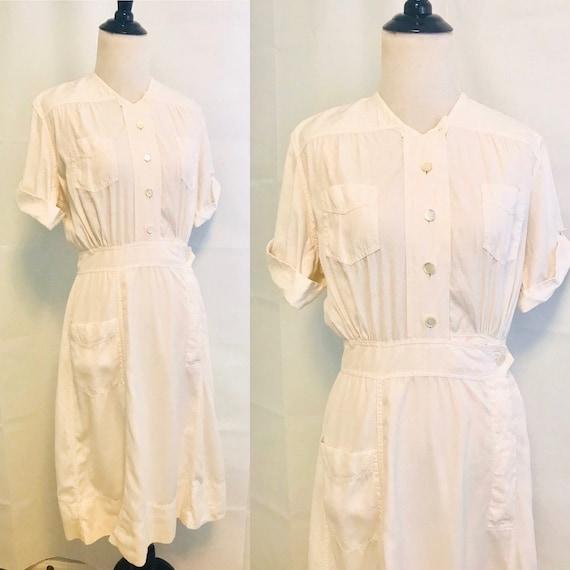 Vintage White Nurse Uniform, 1960s White Nurse Dre