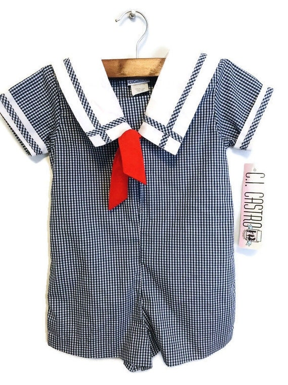 Vintage popsicle brand sailboat romper size 12 months classic baby boy nautical