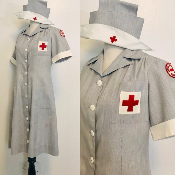Vintage American Red Cross Dress, 1940s 1950s Nurs