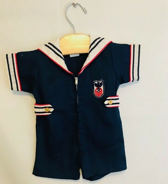 Vintage Baby Boys Sailor Suit, Navy Blue Sailor Ro