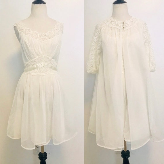 Vintage Peignoir Set, 1950s Vanity Fair Robe and N