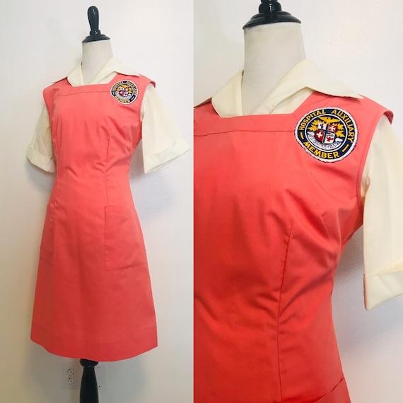 Vintage Nurses Pinafore Coral Nursing Pinafore Apr