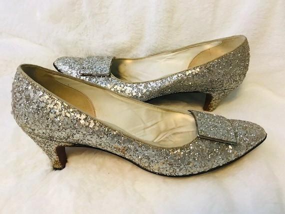 Silver Sequin Heels Vintage 1960s Shoes Silver Gli
