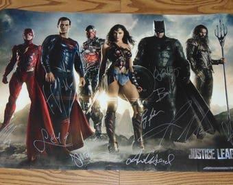 Authentic Justice League Signed Autographed Poster Ben Affleck Gal Gadot