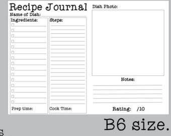 B6 Recipe Journal Insert | Printable Traveler's Notebook Inserts