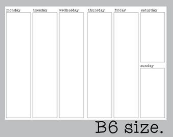 B6 Vertical WO2P Weekly Insert | Printable Traveler's Notebook Inserts