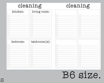 B6 Cleaning Insert | Printable Traveler's Notebook Inserts