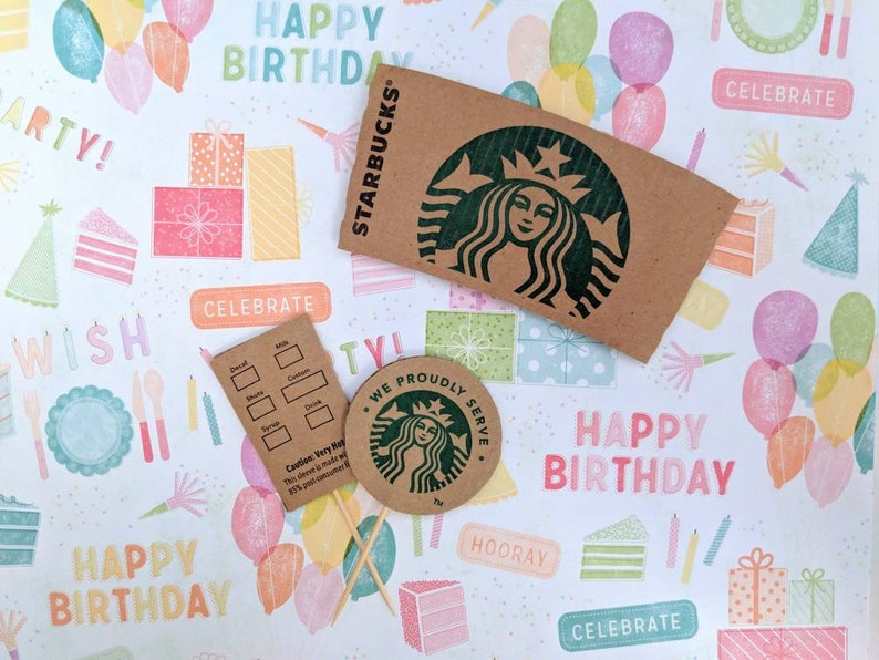 Starbucks Cupcake Topper Party Table Decorations Brunch Ideas Gifts For Coffee Lovers Upcycled Coffee Sleeves Starbucks Lovers