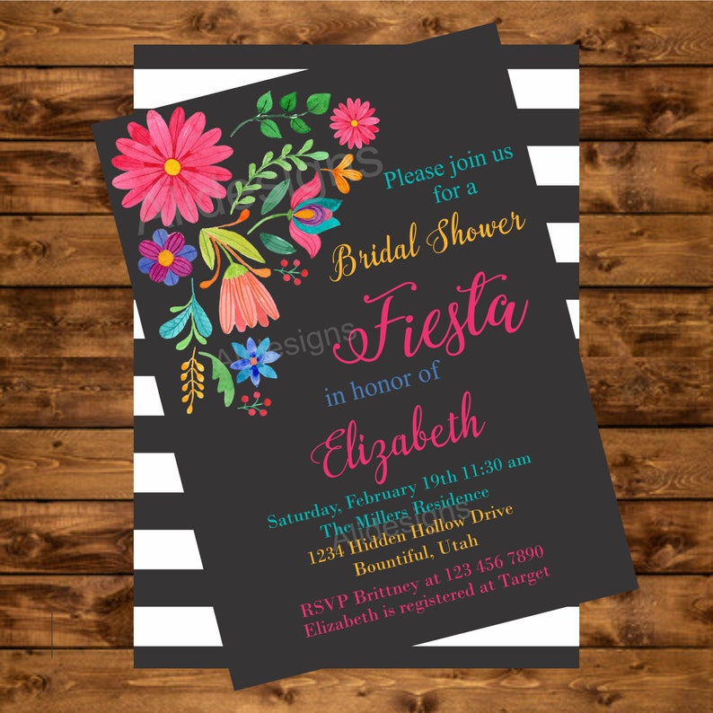 Mexican inspired, printable invitation