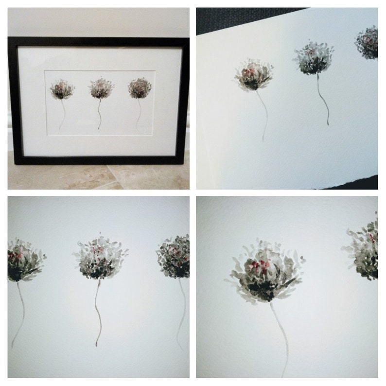Black and white watercolour flower painting monochrome flower image 0