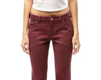 100% Hemp Jeans | Womens Jeans | Mid Waist Jeans | Custom Made | Burgundy