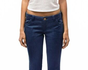 100% Hemp Jeans | Women's jeans | Low waist jeans | Blue jeans | Made to measure