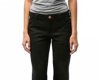100% Hemp Jeans | Womens Jeans | Mid Waist Jeans | Black Jeans | Custom Made