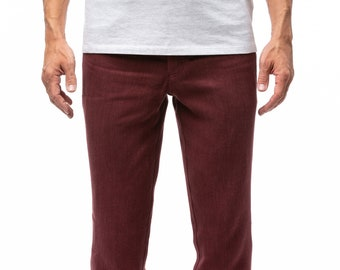 100% Hemp Jeans | Men's jeans | Straight leg jeans | Burgundy