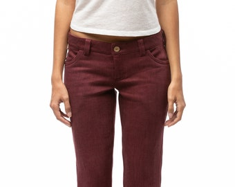 100% Hemp Jeans | Women's jeans | Low rise jeans | Straight leg jeans | Burgundy