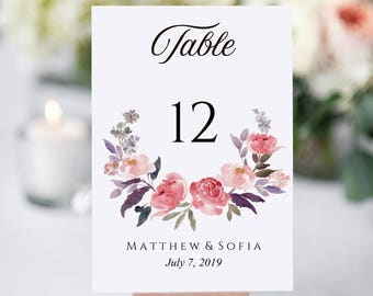 Floral Table Number, Floral Wedding Table, Flower Card, Flowers Table Number, Floral Table Number Cards, Wedding Table Number, Wedding Table