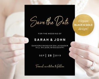 black save the date etsy