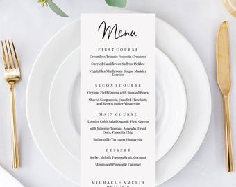 Wedding Menu Printable, Wedding Menu Cards, Menu Template, Printable Wedding, Dinner Menu, Diy Menu, Calligraphy Menu, Menu Download, Menus