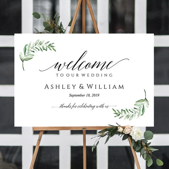 Greenery Wedding Welcome Sign Printable Editable Ceremony Sign Greenery Wedding Decor 4 Sizes Instant Download